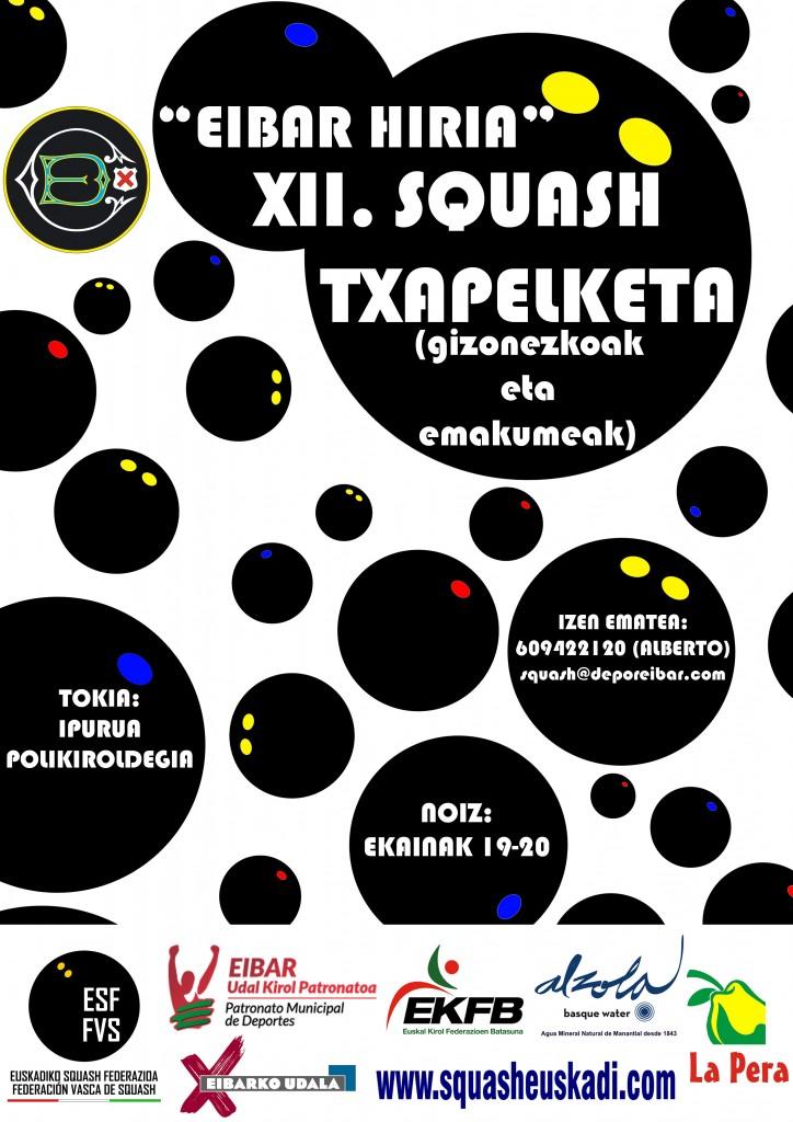 """Cartel del """"XII CAMPEONATO DE SQUASH CIUDAD DE EIBAR 2015"""